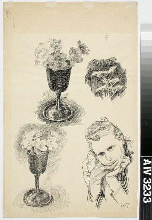 Kukkaharjoitelmia, oik. naisen pää (Eva Sparre)