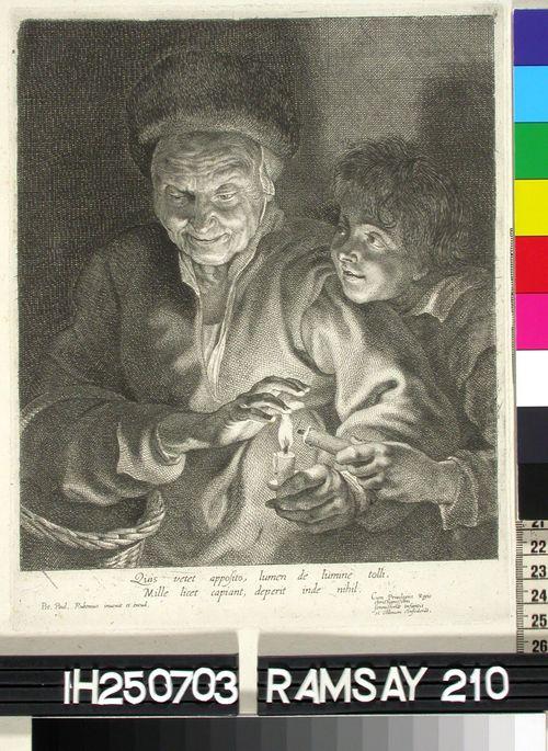 Vanha nainen kynttilä kädessä