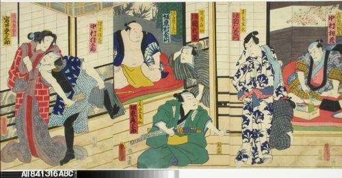 Näyttelijät Nakamura Aizo, Kataoka Nizaemon VIII, Kataoka Gato, Bando Muraemon, Bando Hikosaburo IV, Nakamura Karsugoro ja Iwai Kumesaburo näytelmässä Date kurabe O-Kuni kabuki (Tanssinäytelmä Daten sukuriidasta)