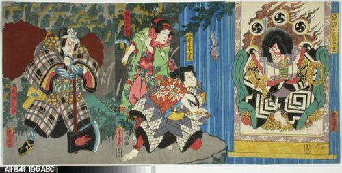 Näyttelijät Ichikawa Danjuro VIII, Ichikawa Koraizo ja Arashi Kichisaburo näytelmässä Megumi no iro furisode Genji (Kaunis liehuvahihainen kaapu)