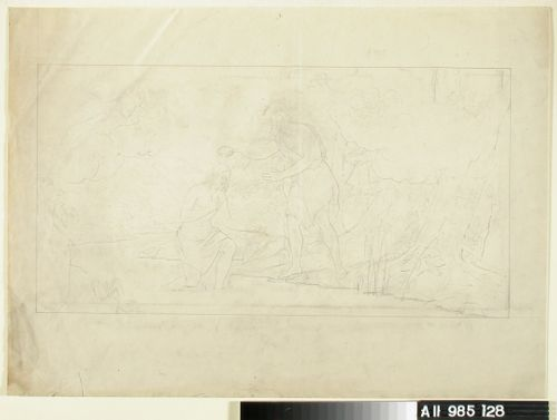Johannes kastaa Kristuksen Jordanin virrassa, pilvenhattaralla vasemmalla leijuu kaksi keruubia