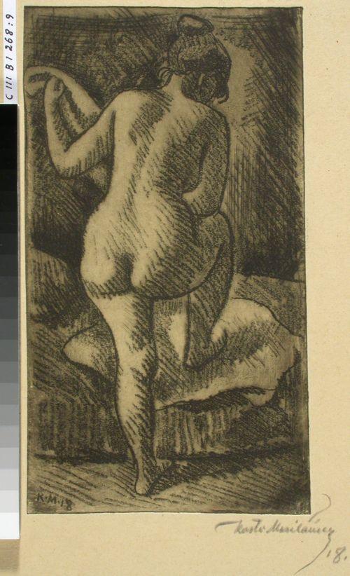 Malliharjoitelma, alaston nainen selästäpäin