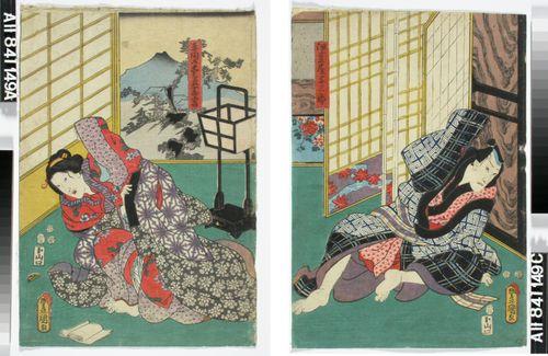 Näyttelijät Ichikawa Danjuro VIII ja Onoe Baiko näytelmässä Genyadana (Heikkoluonteisen Yosaburon tarina)