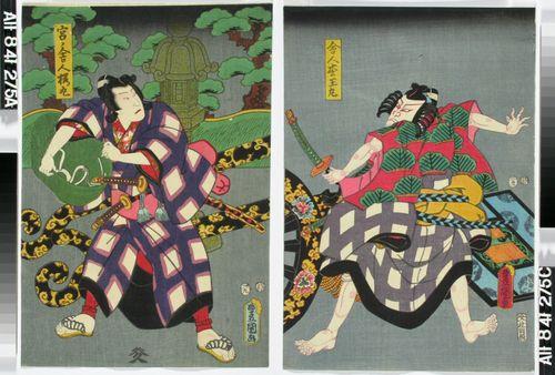 Näyttelijät Ichikawa Kodanji IV ja Bando Hikosaburo näytelmässä Sugawara denju tenarai-kagami (Kaunokirjoitusta Sugawaran oppien mukaan)