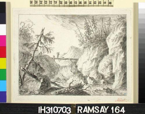 Vesiputous romanttisessa kalliomaisemassa