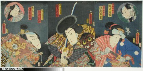 Näyttelijät Sawamura Tanosuke, Bando Hikosaburo IV ja Sawamura Tossho näytelmässä Sano keizu Soga no goshozome (Soga-suvun silkkiviitta)