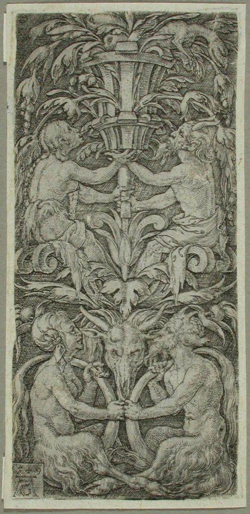 Kasvi- ja satyyriaiheinen ornamentti