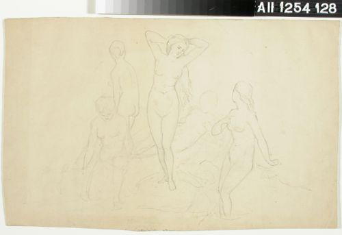 Viisi alastonta naista, mahdollisesti kylpijöitä ; Puolialaston merelle katsova polvistunut nainen (kaksipuolinen teos)
