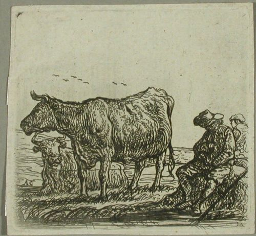 Kaksi lehmää ja paimen