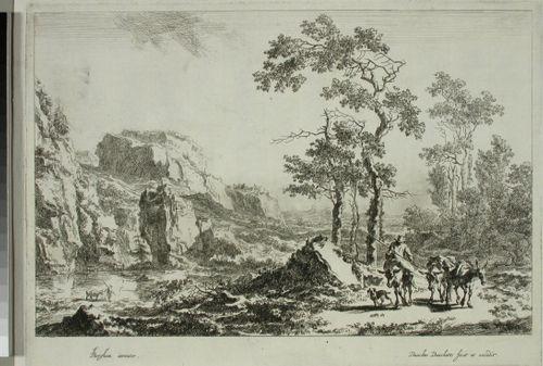 Lierihattuinen talonpoika matkalla kolmen kuormamuulin ja koiran kera