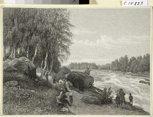 """Imatran alkujuoksu, B. Lindholmin maalausen mukaan. Kuvitusta teokseen """"En resa i Finland"""" kuva 25"""