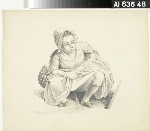 Kyykyssä istuva tyttö kori käsivarrella