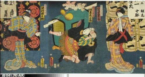 Näyttelijät Iwai Kumesaburo, Bando Hikosaburo IV ja Sawamura Tanosuke tunnistamattomassa näytelmässä