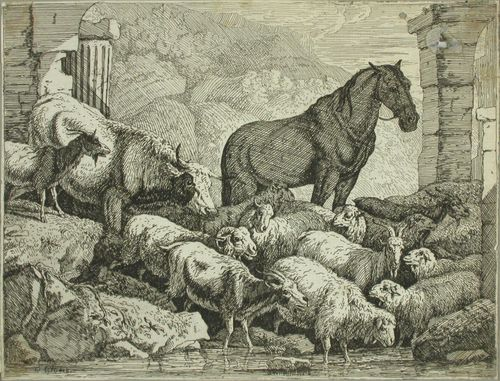 Hevonen ja karjaa raunioiden keskellä
