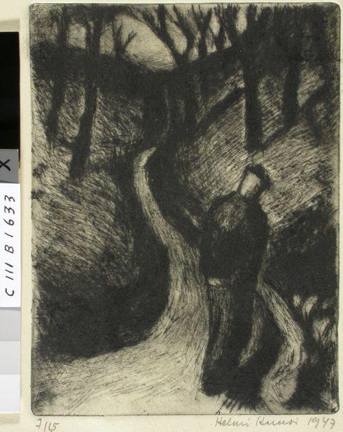 """Kuvitus Mustapään runoon """"Sinivuokkoja ja leppiä kasvavalla rinteellä"""" runokokoelmasta """"Koiruoho, Ruusunkukka"""""""