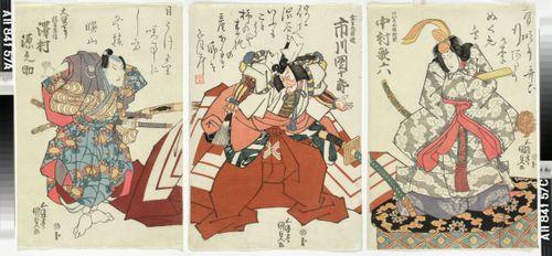 Näyttelijät Nakamura Utaroku, Ichikawa Danjuro ja Sawamura Gennosuke näytelmässä Yoshitsune sembonzakura (Tuhat kirsikkapuuta)