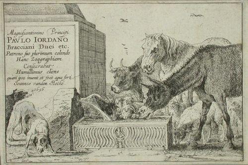 Eläimiä juoma-altaalla, nimilehti 12 lehden sarjassa
