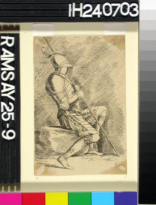Haarniskoitu sotilas istumassa kivellä