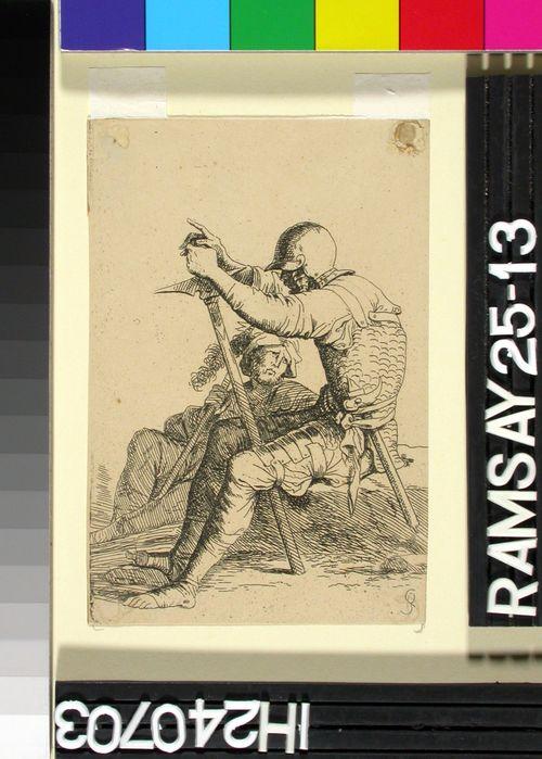 Istuva sotilas sotanuijaansa nojaten