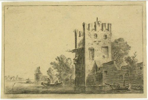 Nelikulmainen torni veden rannalla