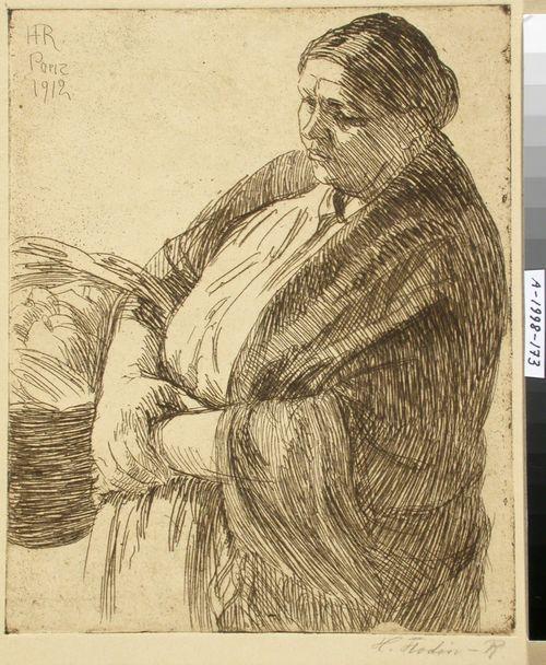 Nainen kori käsivarrellaan