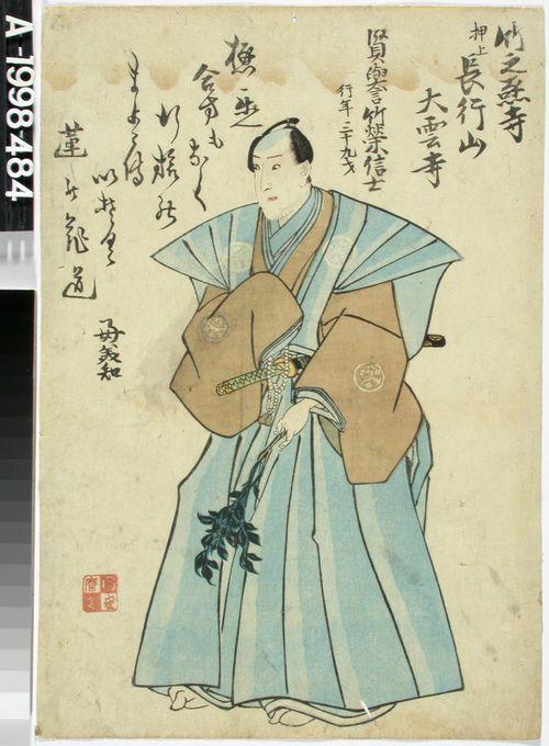 Edesmenneen näyttelijä Ichimura Takenojon muotokuva. Shini-e