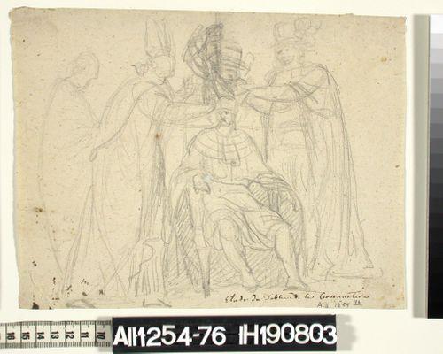Istuva kuningas joka kruunaa piispan