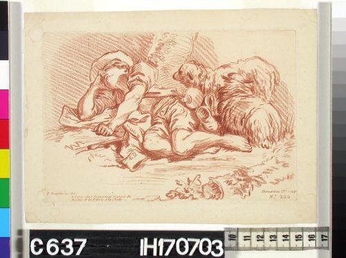 Nukkuva paimen ja kaksi lammasta