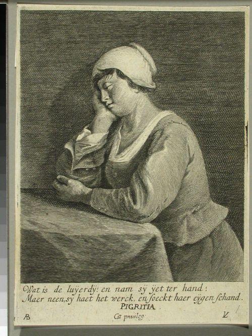 Pigritia; pöydän ääressä nukkuva nainen