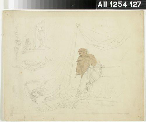 Mytologinen kohtaus: telttakatoksen alla miekkaan tarttunut mies ja pois uiva merenneito