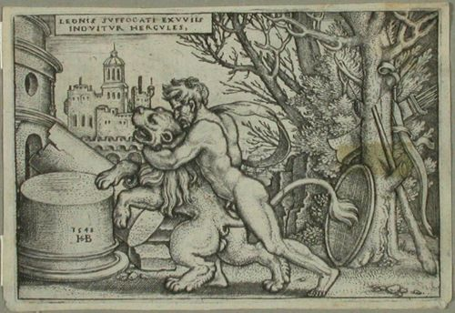 Herkules painii Nemean leijonan kanssa