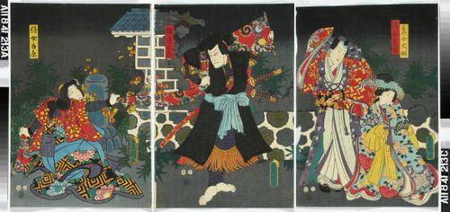 Näyttelijät Onoe Baiko, Nakumura Fukusuke(?), Ichikawa Kuzo ja Onoe Kikujiro(?) tunnistamattomassa näytelmässä