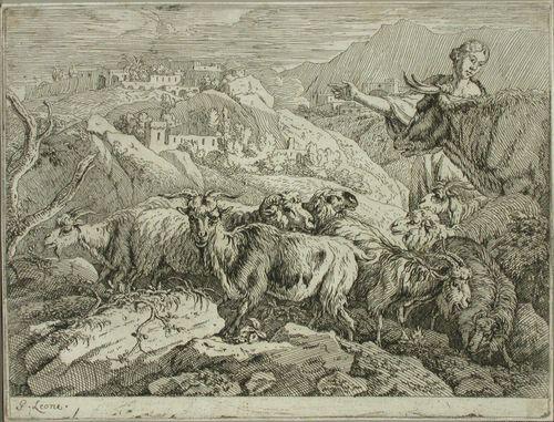 Paimen karjoineen vuoristossa