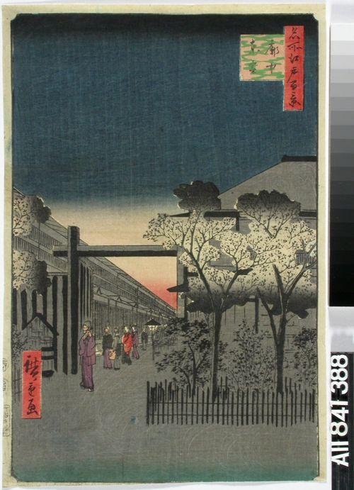 Aamunsarastus Yoshiwarassa. Sarjasta Edon sata kuuluisaa näkymää