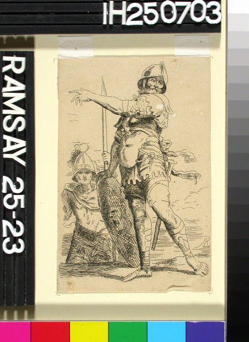 Sotilas Medsakuvioinen kilpi kädessään