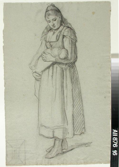 Kapaloitua lasta käsivarsillaan kantava tyttö