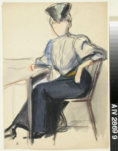 Pöydän ääressä istuva nainen, luonnos