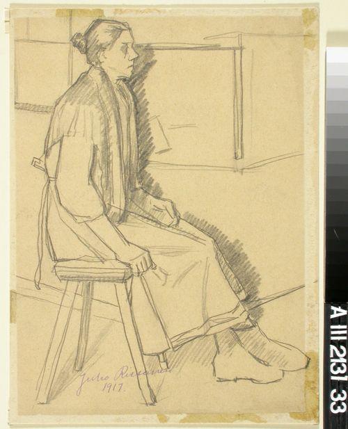 Penkillä istuva nainen