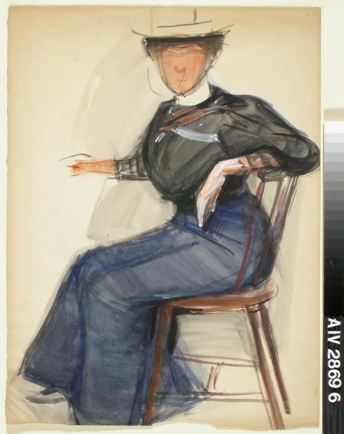Istuva nainen, luonnos