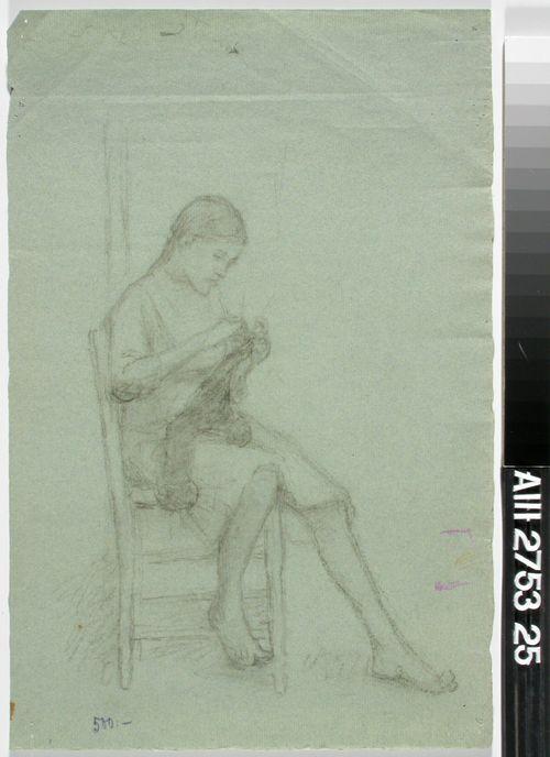 Istuva tyttö, sukankudin kädessä