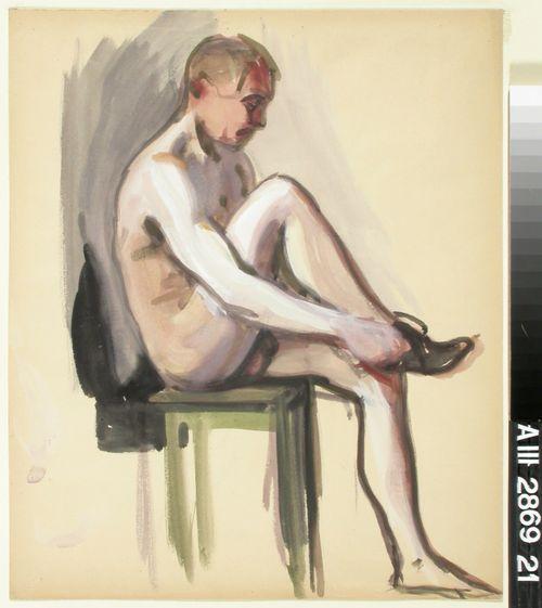 Istuva alaston
