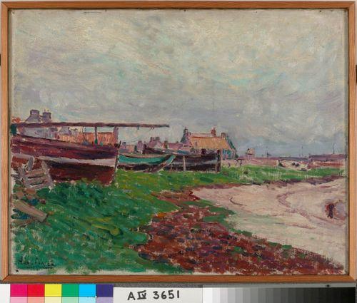 Rantakylä ja veneitä