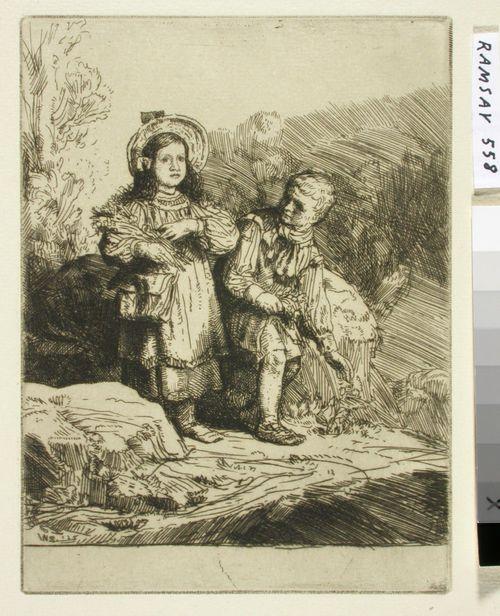 """See here a boy gathering lilies..."".Kuvitusta Izaak Waltonin ja Charles Cottonin The Compleat Agler"