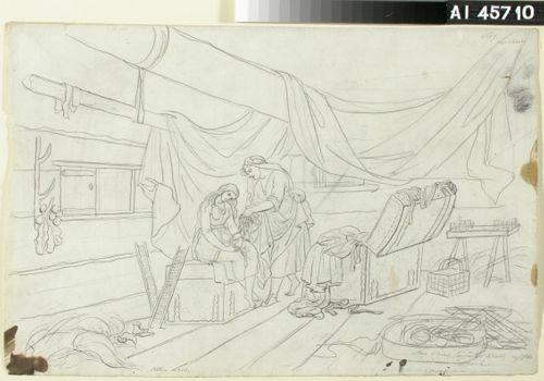 "Äiti kieltää Ainoa suremasta ; Originaalipiirustus piirrossarjaan ""Kalewala, Finsk National-dikt, framställd i teckningar af R.W.Ekman"""