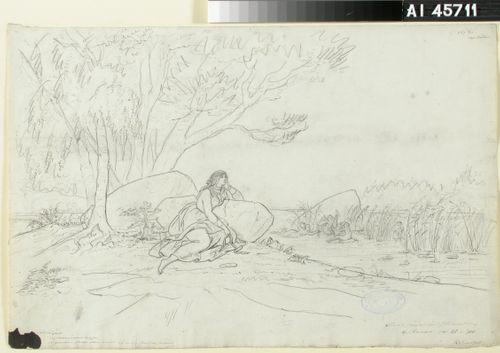 "Aino rannalla ; Originaalipiirustus piirrossarjaan ""Kalewala, Finsk National-dikt, framställd i teckningar af R.W.Ekman"""
