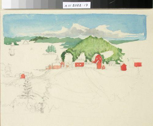 Punainen talo järvenrannalla, maisema ; keskeneräinen