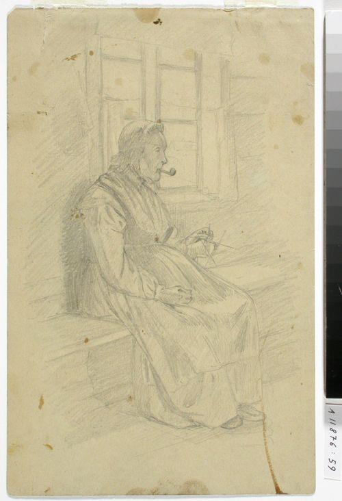Mummo piippu suussa ja sukankudin toisessa kädessä istumassa tuvan penkillä