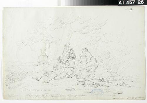 "Lemminkäinen Saarella ; Originaalipiirustus piirrossarjaan ""Kalewala, Finsk National-dikt, framställd i teckningar af R.W.Ekman"""