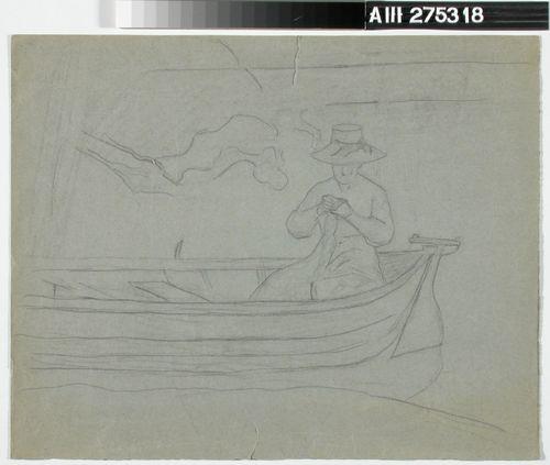Hattupäinen nainen veneessä