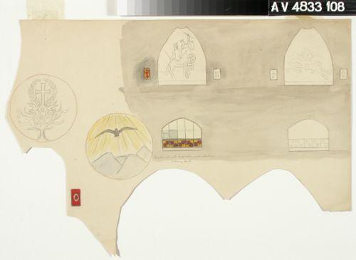 Kuusi lasimaalausikkunaa ja kirjainikkunat, osittain toteuttamattomia suunnitelmia. Luonnoksia Tampereen tuomiokirkon (Johanneksen kirkko) maalauksiin